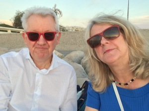 Babs and Paul at the rocks, Boulevard de la Croisette, Cannes
